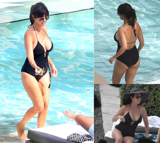 kourtney kardashian black one-piece swimsuit
